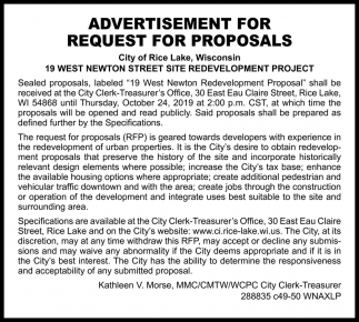 Advertisement for Request for Proposals
