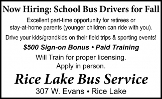 School Bus Drivers for Fall