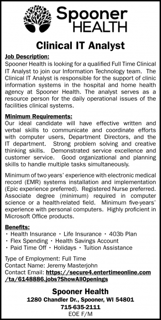 Clinical IT Analyst