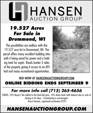 19.527 Acres for Sale in Drummond, WI