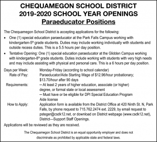 Paraeducator Positions