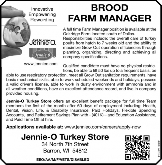 BROOD FARM MANAGER