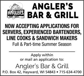 SERVERS, BARTENDERS, COOKS, SANDWICH MAKERS
