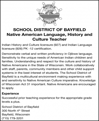 Native American Language, History and Culture Teacher