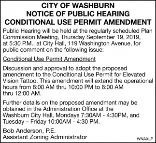 Notice of Public Hearing Conditional Use Permit Amendment