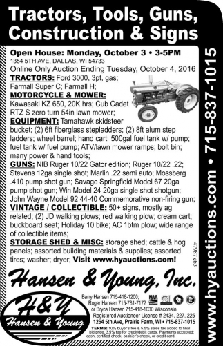 Tractors, Tools, Guns, Construction and Signs