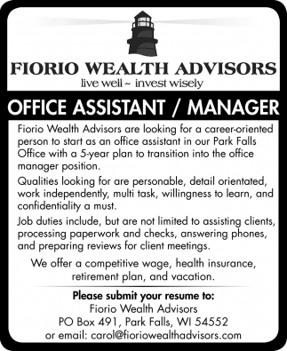Office Assistant / Manager
