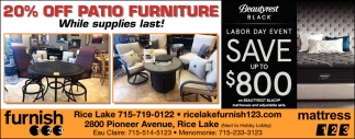 20% off patio furniture