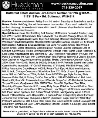 Butternut Estate Auction Live-Onsite Auction