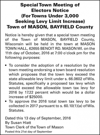 Special Town Meeting of Electors Notice