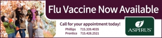 Flu Vaccine Now Available