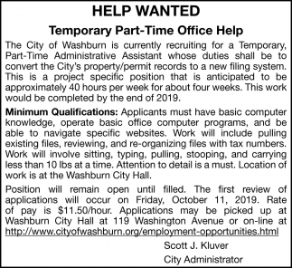 Temporary Part Time Office Help