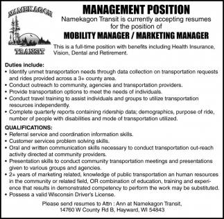 MOBILIITY MANAGER / MARKETING MANAGER