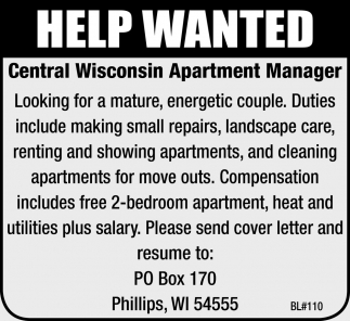 Apartment Manager, Central Wisconsin Apartment Manager