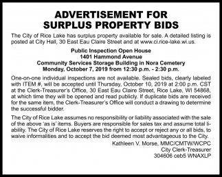 Advertisement for Surplus Property Bids