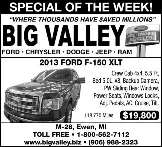 Big Valley Ford >> 2013 Ford F 150 Xlt Big Valley Ewen Mi