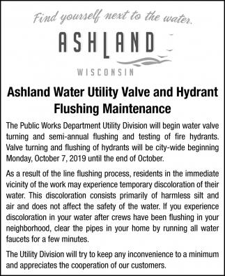 Ashland Water Utility Valve and Hydrant Flushing Maintenance