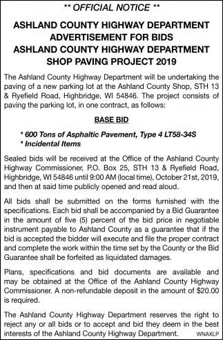 Shop Paving Project 2019