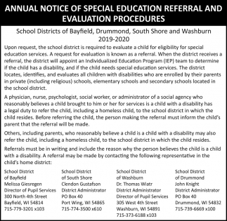 Annual Notice of Special Education Referral and Evaluation Procedures