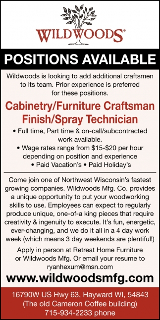 Cabinetry/Furniture Craftsman Finish/Spray Technician