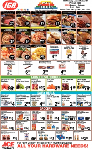Prices Good through Wed., Oct. 16th