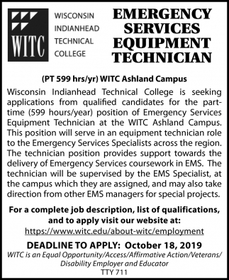 Emergency Services Equipment Technician