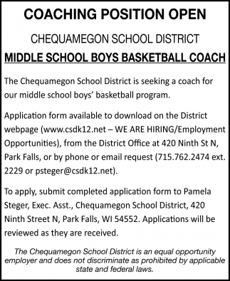 Middle School Boys Basketball Coach