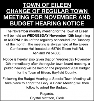Change of Regular Town Meeting for November and Budget Hearing Notice