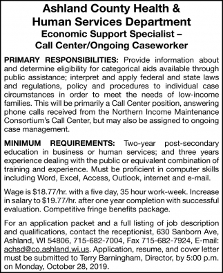 Economic Support Specialist - Call Center / Ongoing Caseworker