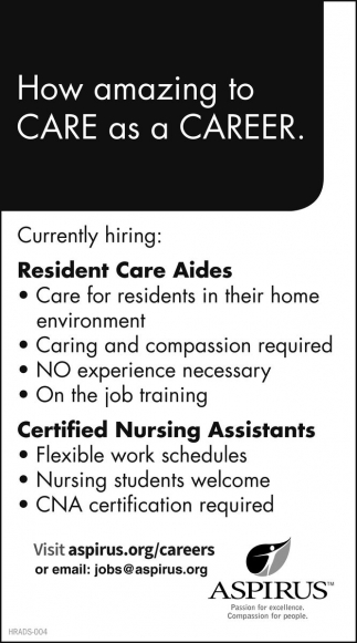 Resident Care Aides - Certified Nursing Assistants