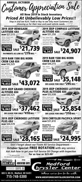 Annual October Customer Appreciation Sale