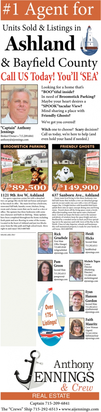 1 Agent for Units Sold & Listings in Ashland & Bayfield COunty