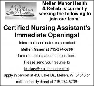 Certified Nursing Assistant's