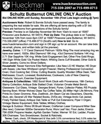 Schultz Butternut Online Only Auction