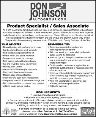 Product Specialist / Sales Associate