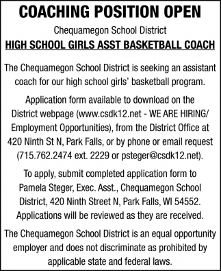 High School Girls Asst Basketball Coach