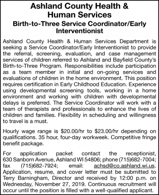 Birth-to-Three Service Coordinator/Early Interventionist