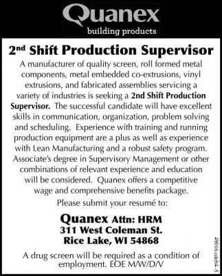 2nd Shift Production Supervisor
