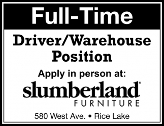 Driver / Warehouse Position