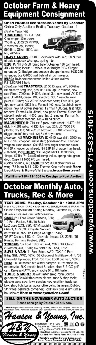 October Farm and Heavy Equipment Consignment