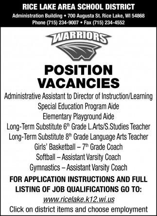 2019 - 2020 Position Vacancies