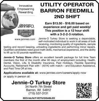 Utility Operator Barron Feedmill 2nd Shift