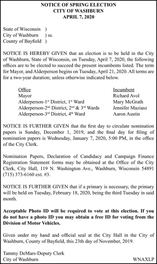 Notice of Spring Election