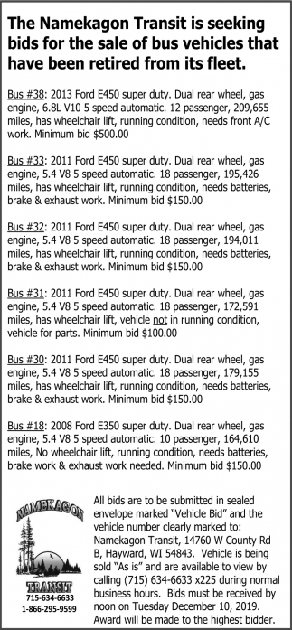 Sale of bus vehicles
