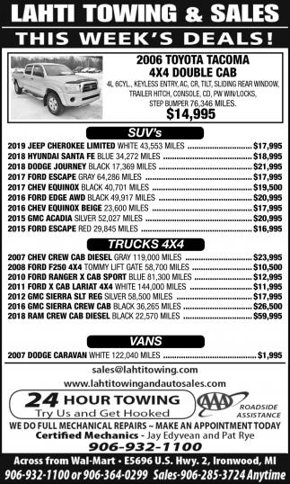SUVs, Trucks, Vans