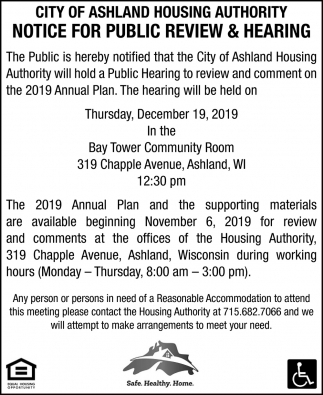 Notice for Public Review & Hearing