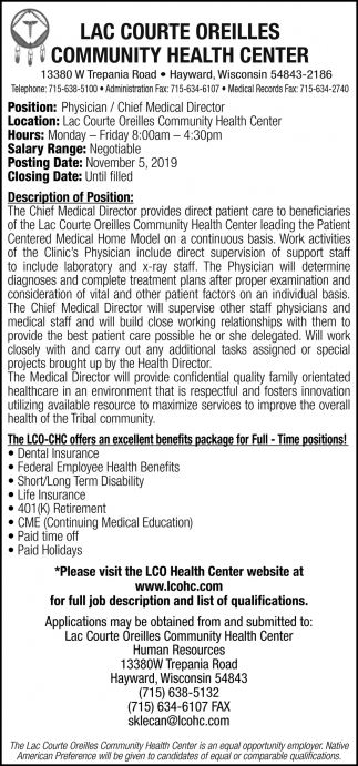 Physician / Chief Medical Director