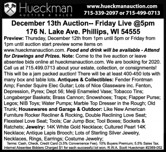 December 13th Auction