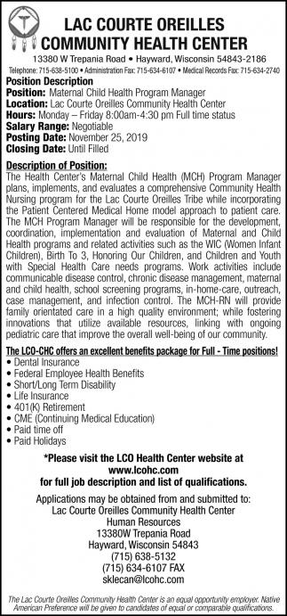 Maternal Child Health Program Manager
