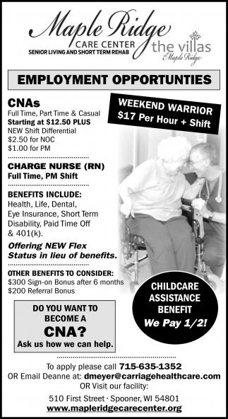 CNAs, Charge Nurse